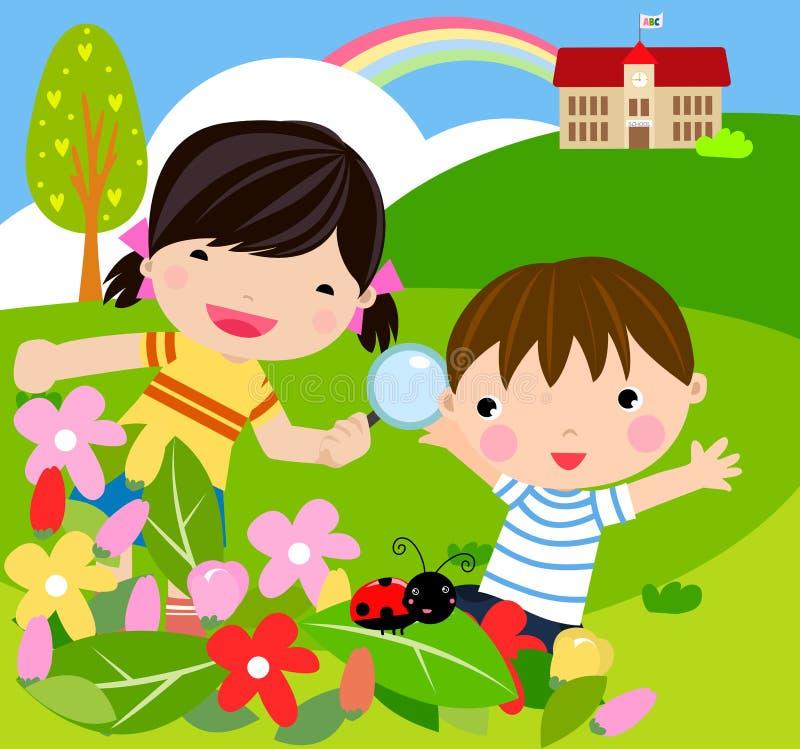 El muchacho y la muchacha con la lupa con la señora introducen errores de funcionamiento stock de ilustración