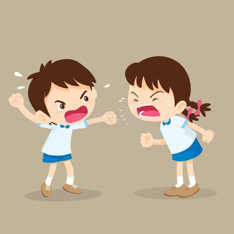El muchacho y la muchacha del estudiante están peleando libre illustration