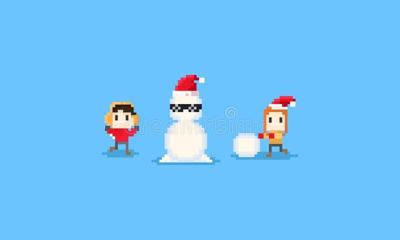 El muchacho y la muchacha del pixel construyen el muñeco de nieve carácter 8bit Chismas libre illustration
