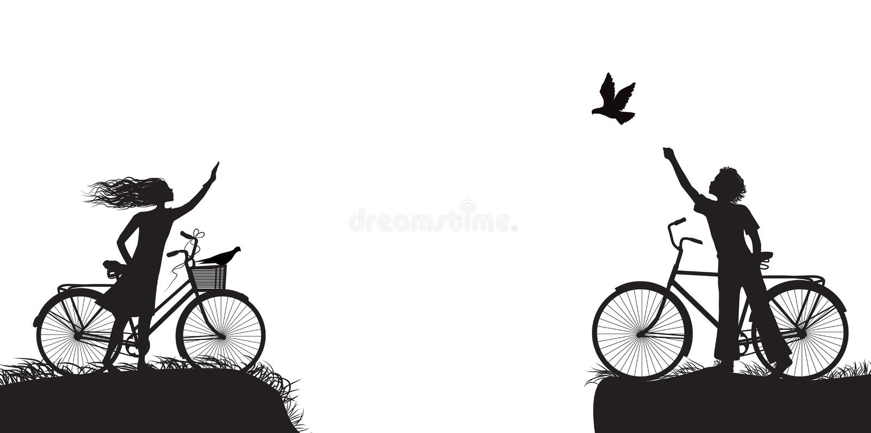 El muchacho y la muchacha en la bicicleta que se agita y al muchacho libera la paloma, dos amantes en la bicicleta, blanco y negr libre illustration