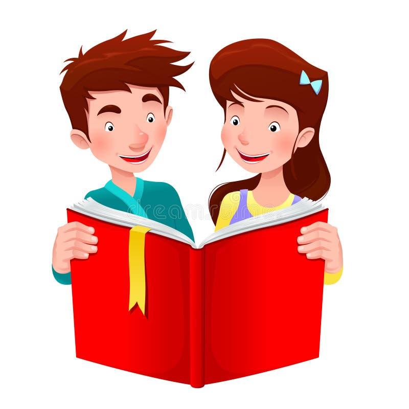 El muchacho y la muchacha están leyendo un libro. stock de ilustración