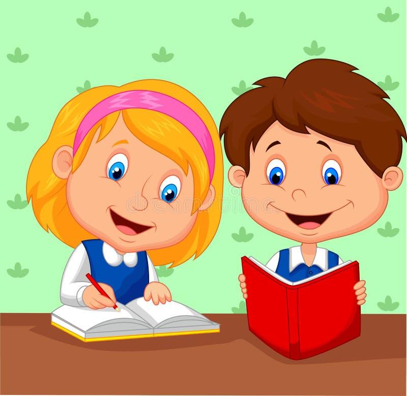 El muchacho y la muchacha estudian juntos libre illustration