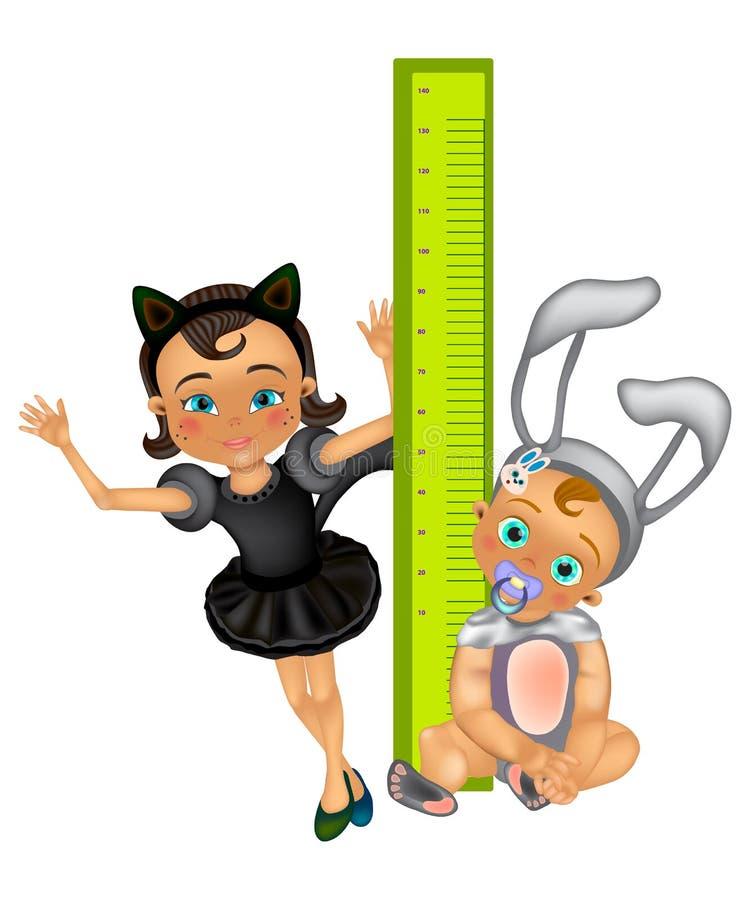 El muchacho y la muchacha felices mide su crecimiento con una regla grande libre illustration