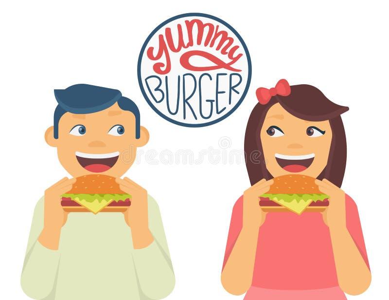 El muchacho y la muchacha felices son consumición las hamburguesas grandes stock de ilustración