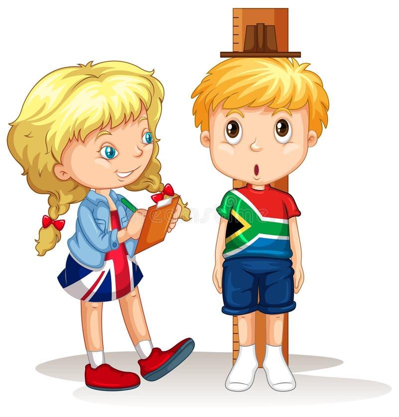 El muchacho y la muchacha miden la altura stock de ilustración