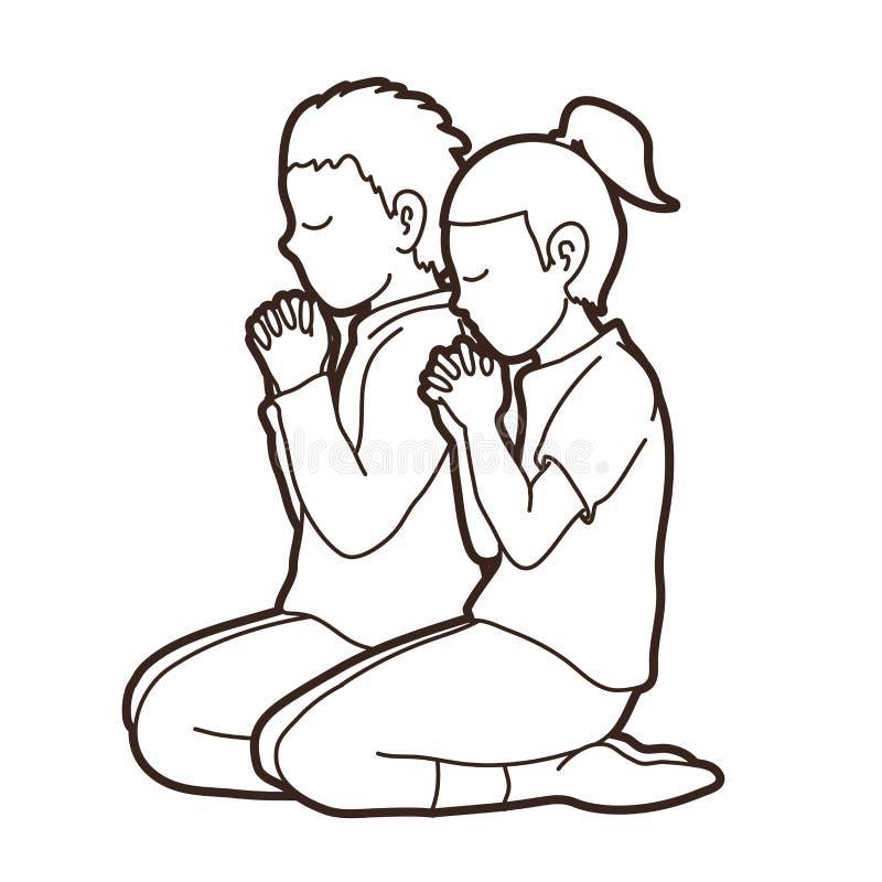 El muchacho y la muchacha ruegan juntos, rezo, niños de rogación del cristiano ruegan con dios stock de ilustración