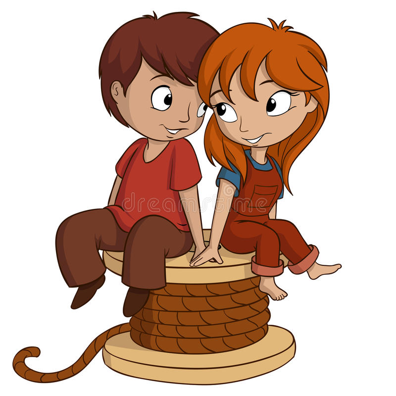 El muchacho y la muchacha se están sentando con forma del corazón en el fondo blanco stock de ilustración