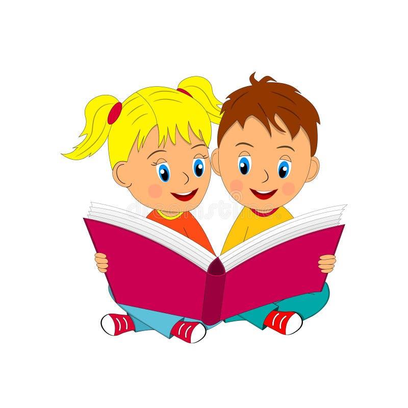 El muchacho y la muchacha sientan y leen el libro stock de ilustración