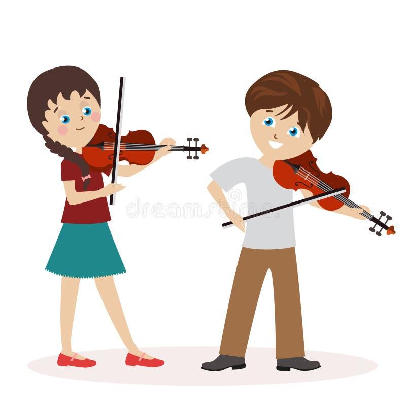 El muchacho y una muchacha están tocando el violín Lecciones de música Carácter plano aislado en el fondo blanco Vector, ejemplo ilustración del vector