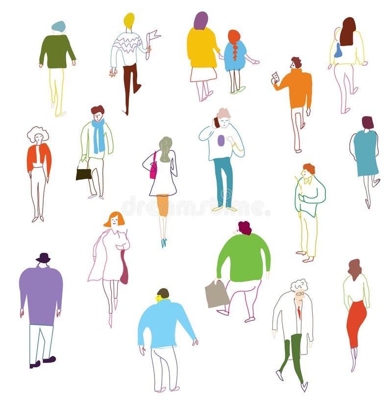 El mucho caminar, talkink y situación de la gente ilustración del vector