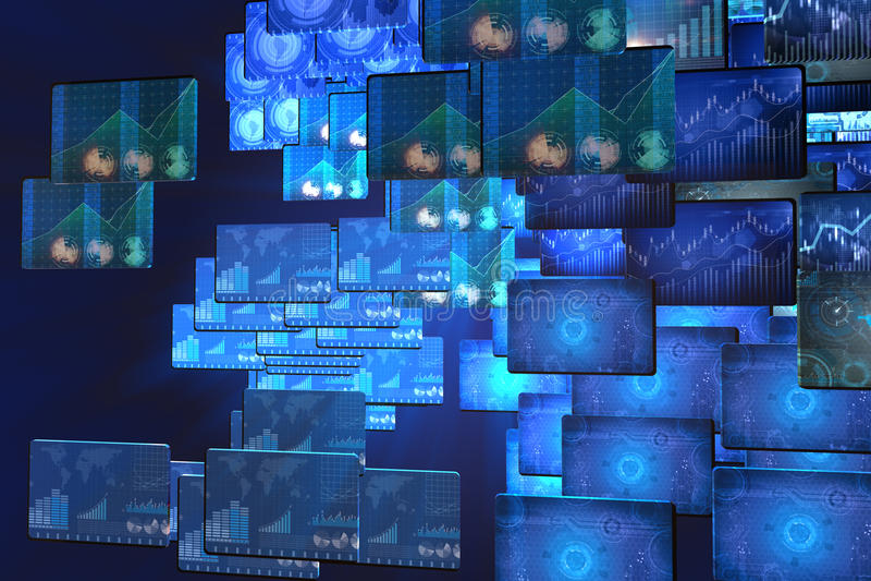 El muchos defienden monitores con las cartas y los gráficos stock de ilustración