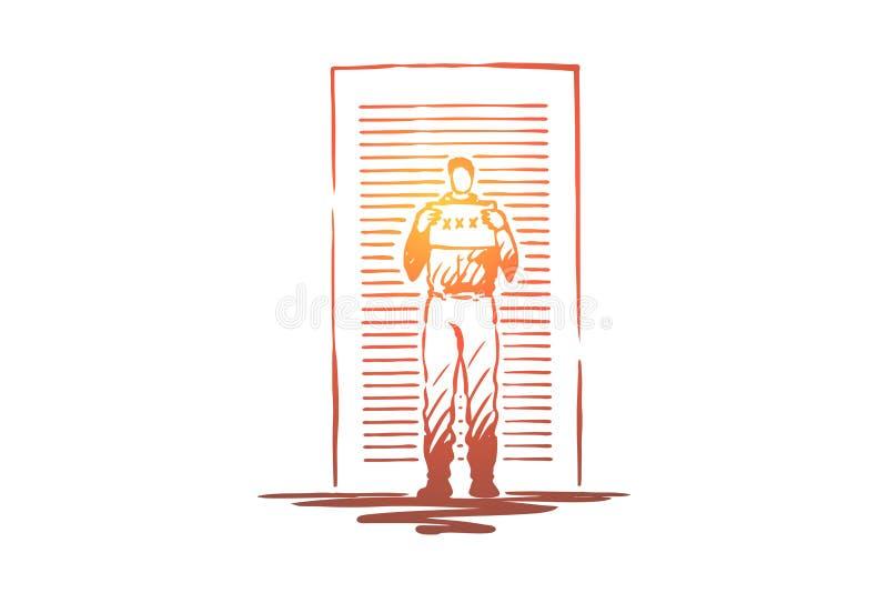 El mugshot del preso, arrest? la placa de identificaci?n de la tenencia del hombre, convicto an?nimo, pared que hac?a una pausa d stock de ilustración