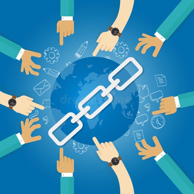 El mundo de la optimización del Search Engine del seo del edificio del vínculo conecta las manos azules ilustración del vector
