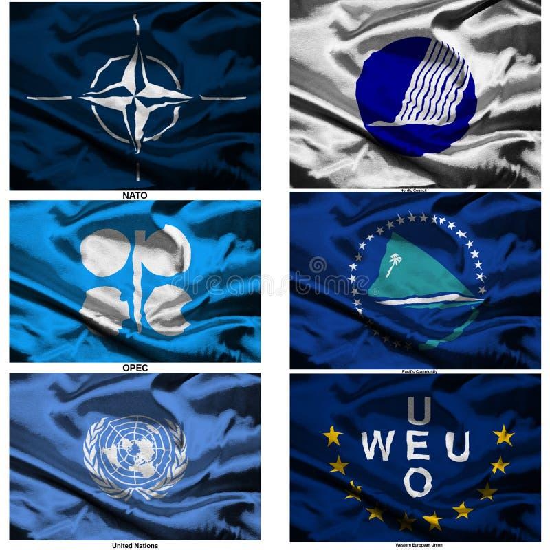 El mundo de la tela señala la colección por medio de una bandera 45 ilustración del vector
