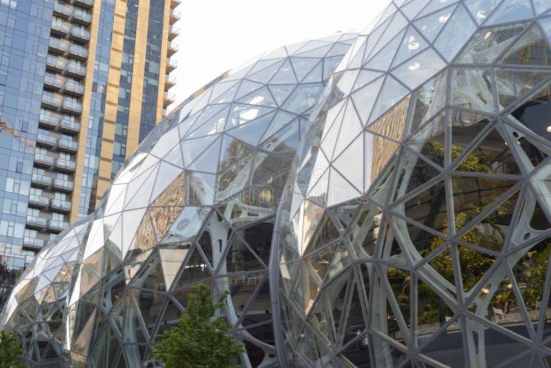 El mundo del Amazonas establece jefatura de esferas y de la torre de la propiedad horizontal imagen de archivo