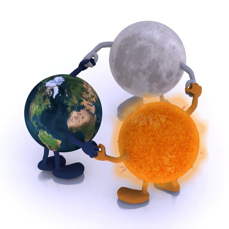 El mundo, el sol y la luna son danza redonda stock de ilustración