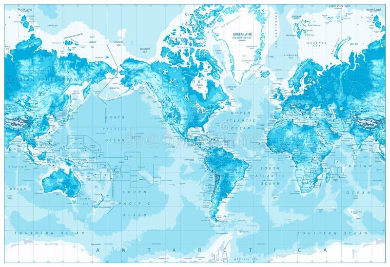 El mundo físico Mapa-América se centró stock de ilustración