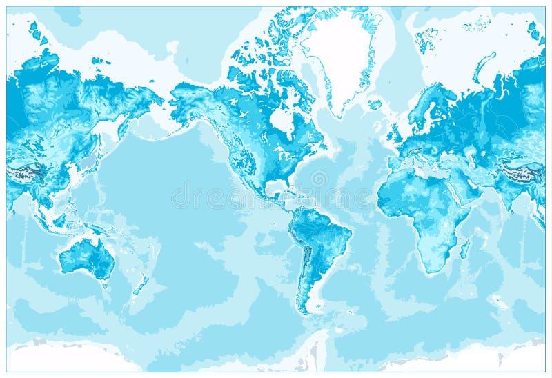 El mundo físico Mapa-América se centró ilustración del vector