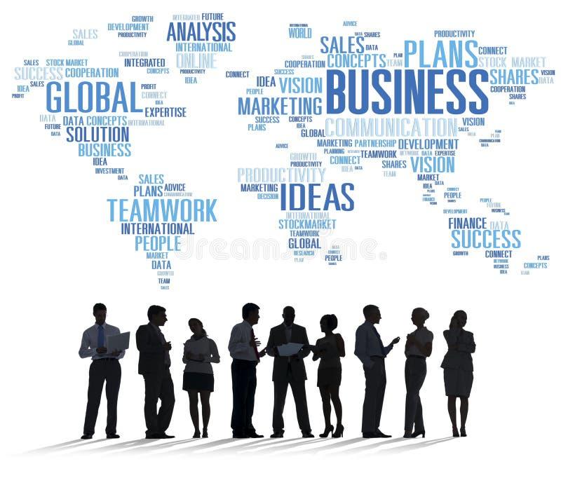 El mundo global del negocio planea concepto de la empresa de la organización imagenes de archivo