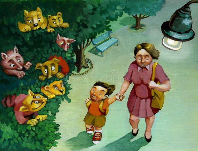 El mundo a los ojos de niños stock de ilustración