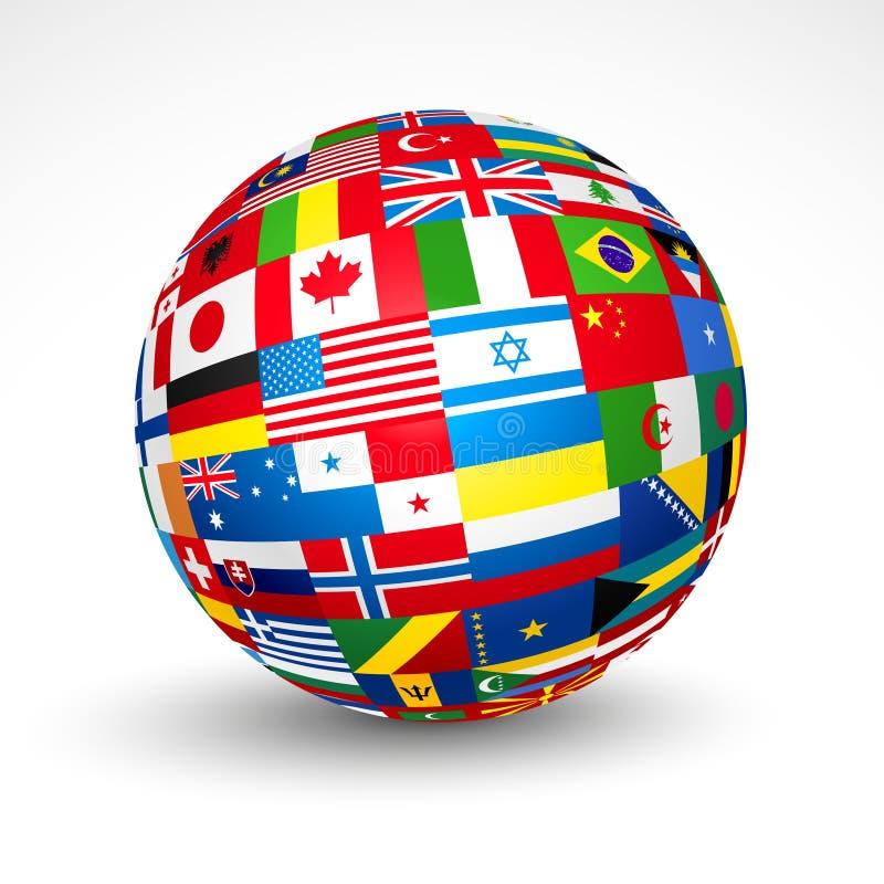 El mundo señala la esfera por medio de una bandera. libre illustration