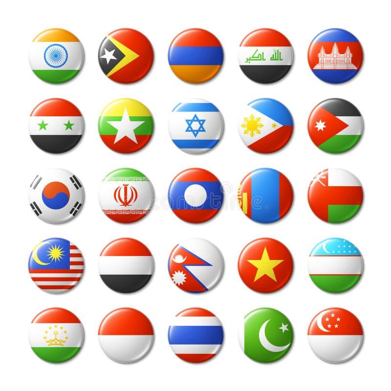 El mundo señala por medio de una bandera alrededor de las insignias, imanes asia stock de ilustración
