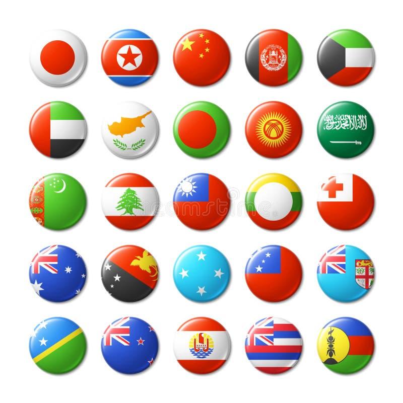 El mundo señala por medio de una bandera alrededor de las insignias, imanes Asia y Oceanía ilustración del vector
