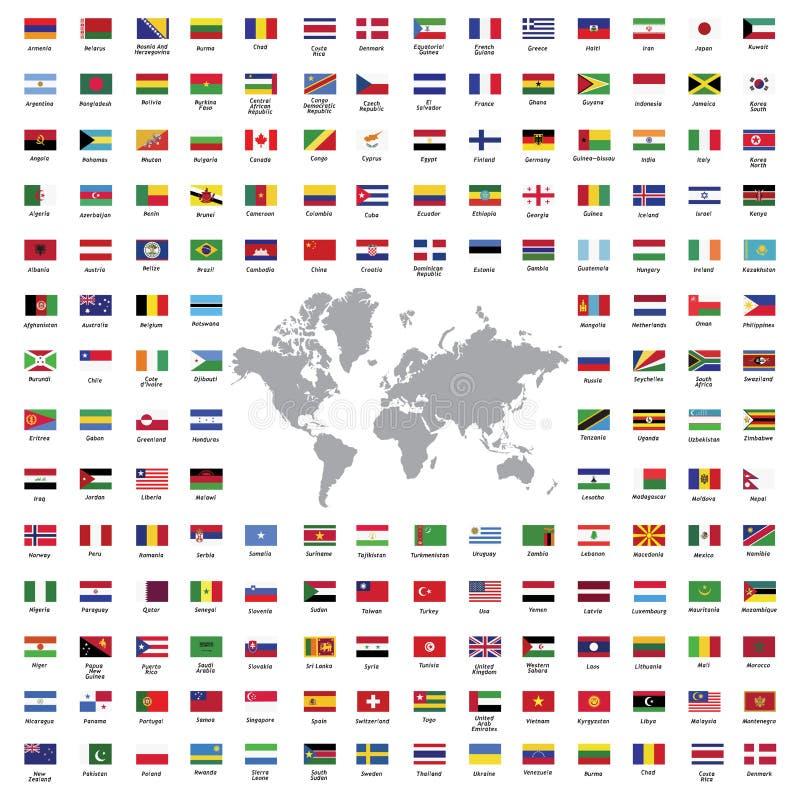 El mundo señala todos por medio de una bandera libre illustration