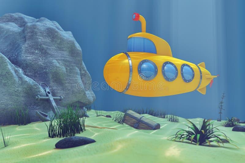 El mundo subacuático del océano con la historieta diseñó el submarino renderi 3D ilustración del vector