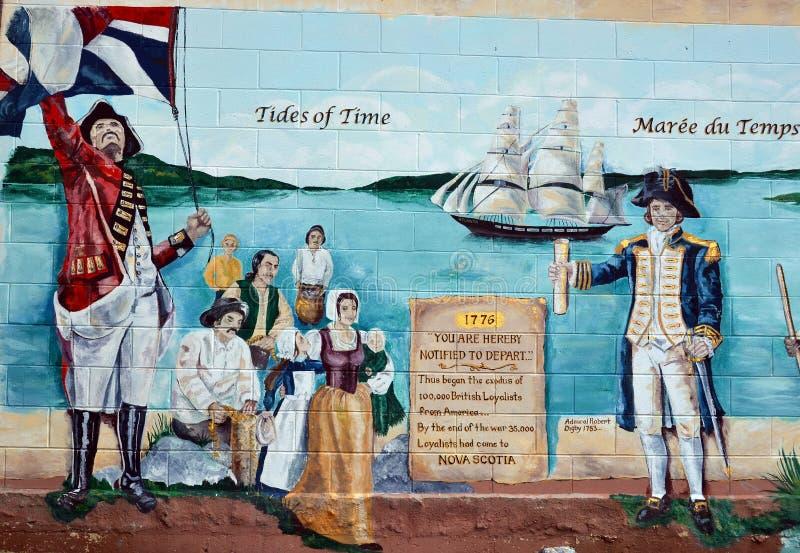 El mural cuenta la historia de la gente de los acadians imagen de archivo libre de regalías