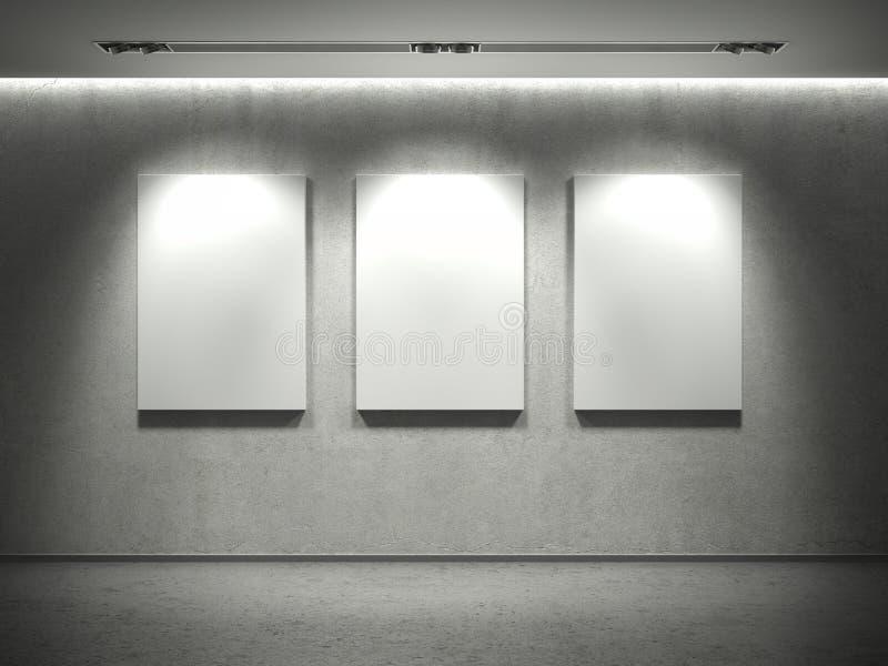 El muro de cemento con los marcos vacíos y 3 manchan luces stock de ilustración