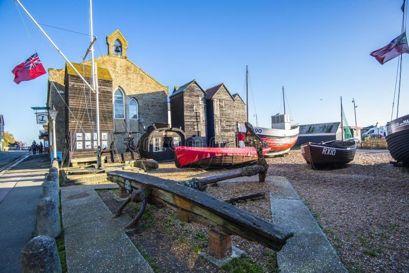El museo de la flota pesquera en Hastings, East Sussex, Inglaterra fotos de archivo