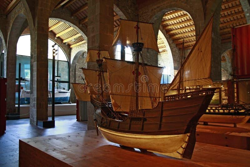 El museo marítimo en Barcelona, Cataluña, España imagen de archivo libre de regalías