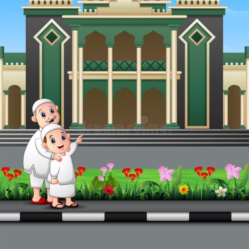 El musulm?n feliz embroma la historieta delante de una mezquita stock de ilustración