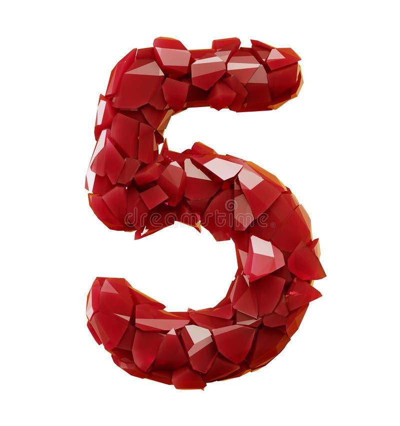 El número 5 cinco hizo del color rojo de los cascos plásticos aislado en el fondo blanco 3d stock de ilustración