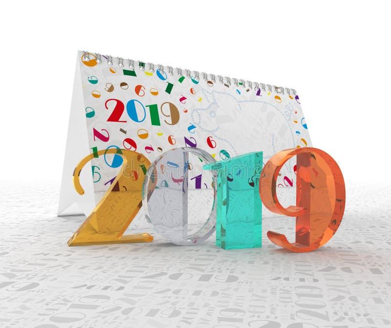 El número 2019 contra la perspectiva del calendario y las figuras son dos, cero, uno, nueve ilustración 3D fotografía de archivo libre de regalías