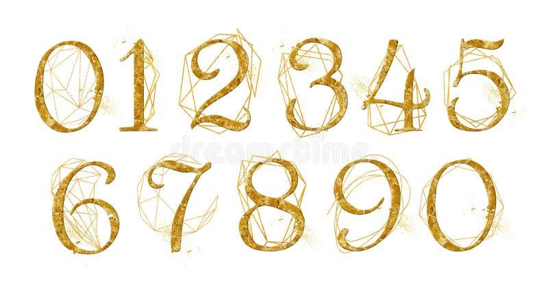 El número de oro fijó con el cristal geométrico de la forma del oro La colección para casarse invita a la decoración otras ideas  libre illustration