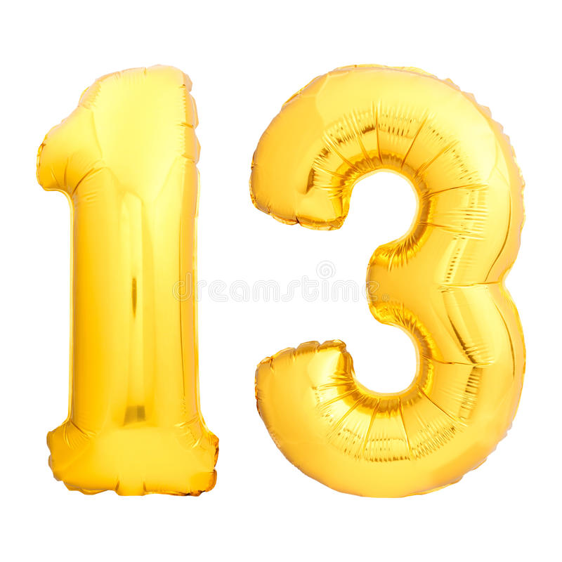 El número de oro 13 hizo del globo inflable foto de archivo