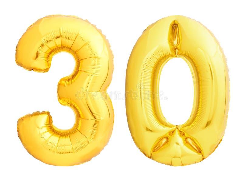 El número de oro 30 treinta hizo del globo inflable foto de archivo libre de regalías