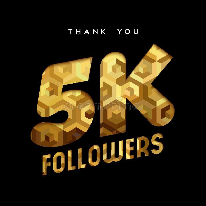 el número del seguidor de Internet del oro 5k le agradece cardar ilustración del vector
