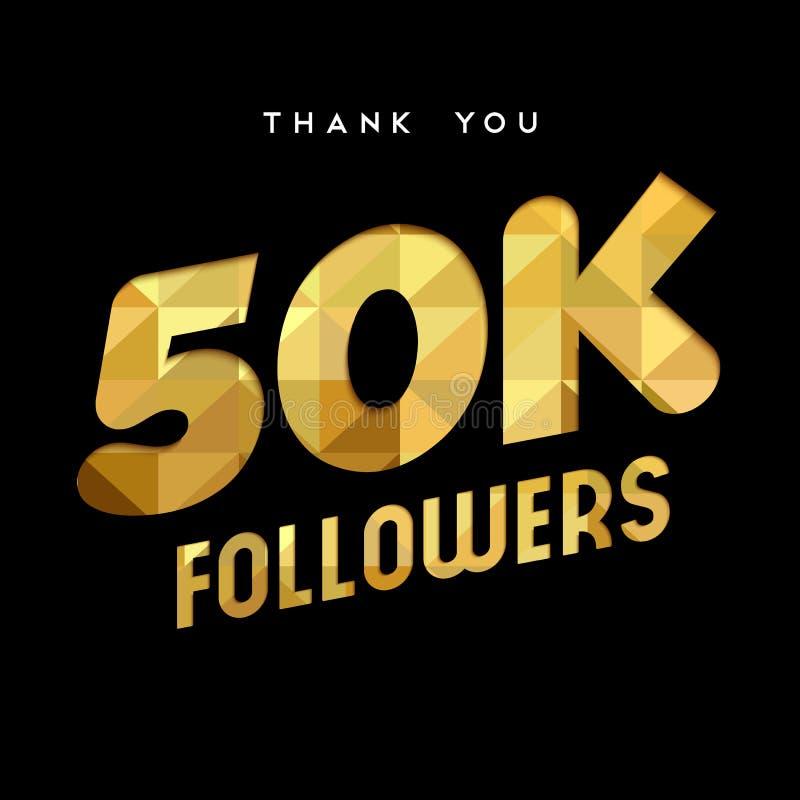 el número del seguidor de Internet del oro 50k le agradece cardar ilustración del vector