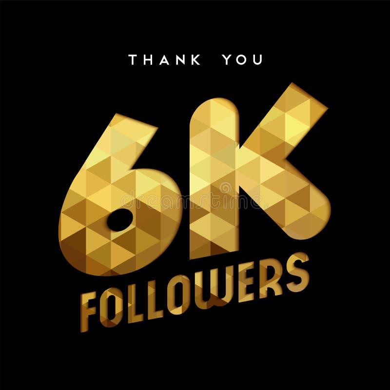 el número del seguidor de Internet del oro 6k le agradece cardar ilustración del vector