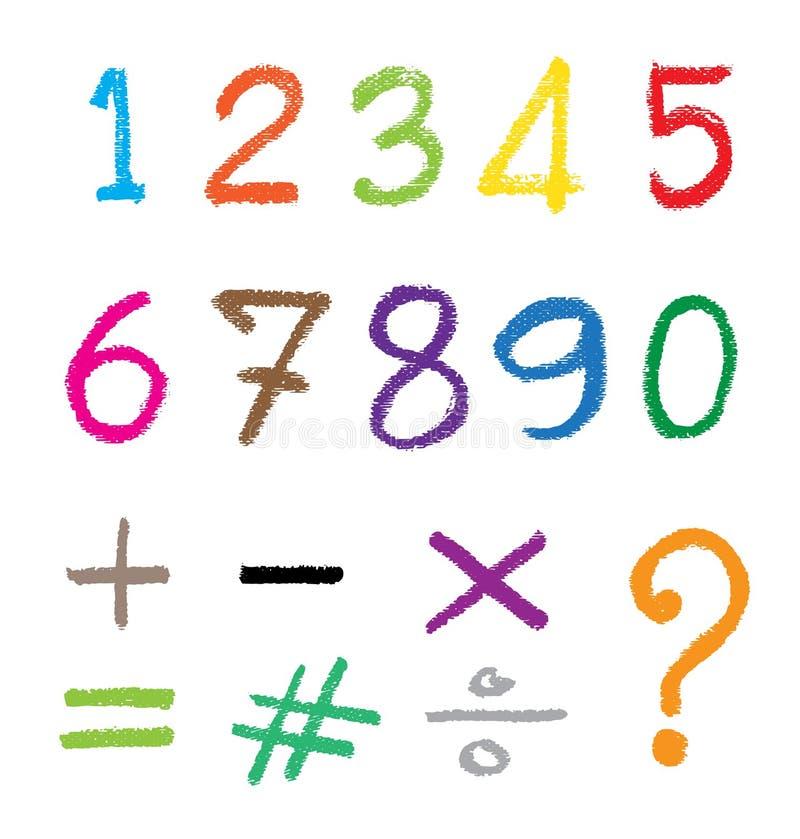 El número dibujado por un creyón stock de ilustración