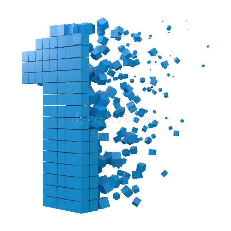 El número 1 formó el bloque de datos versión con los cubos azules ejemplo del vector del estilo del pixel 3d libre illustration