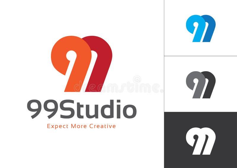 El número inicial 99 se conectó vector Logo Design Template libre illustration