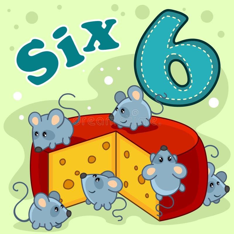 El número seis con un ejemplo ilustración del vector