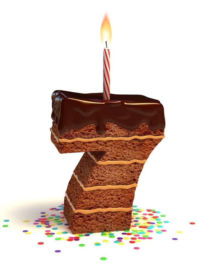 El número siete forma la torta de cumpleaños stock de ilustración
