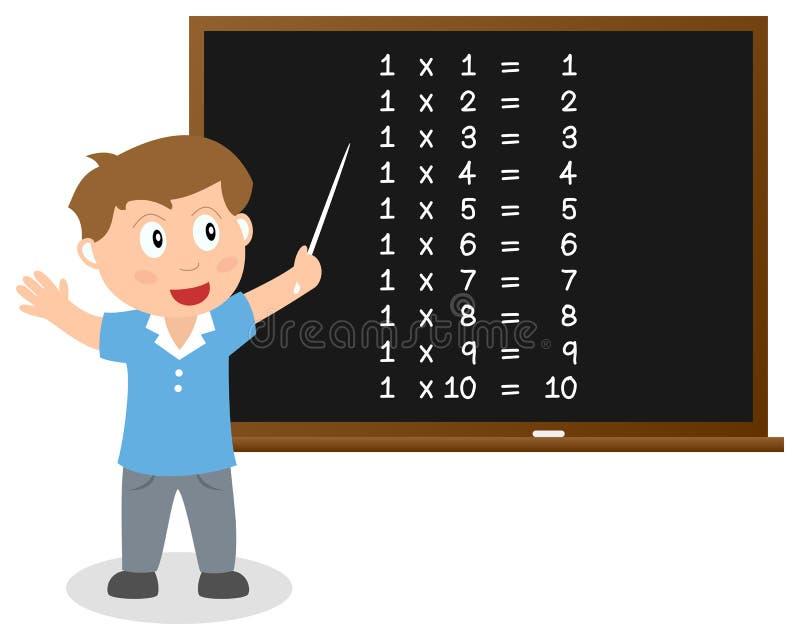 El número uno mide el tiempo de la tabla en la pizarra libre illustration