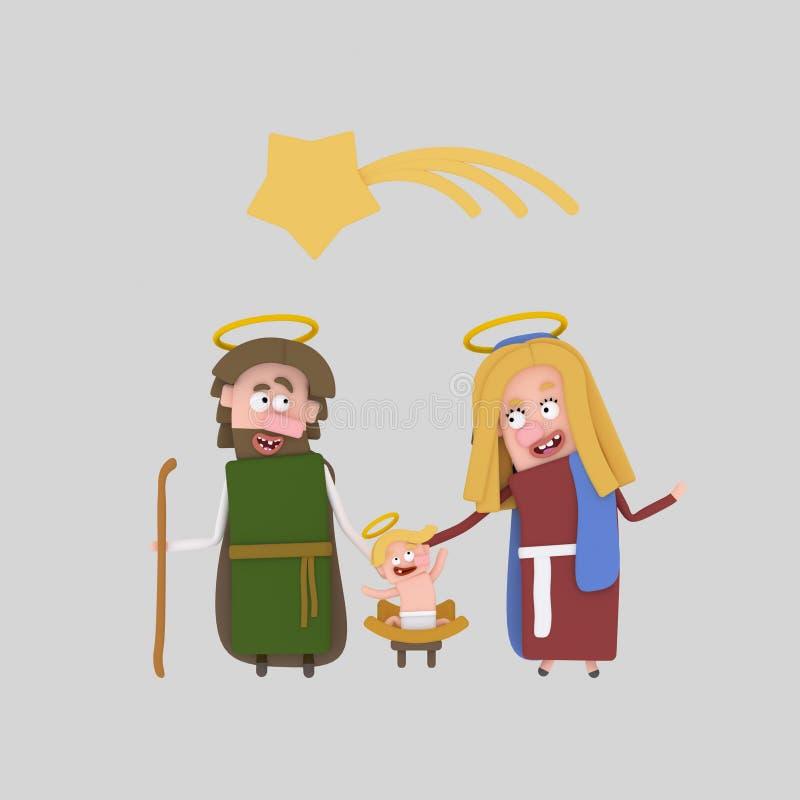 El nacimiento de Jesús 3d stock de ilustración