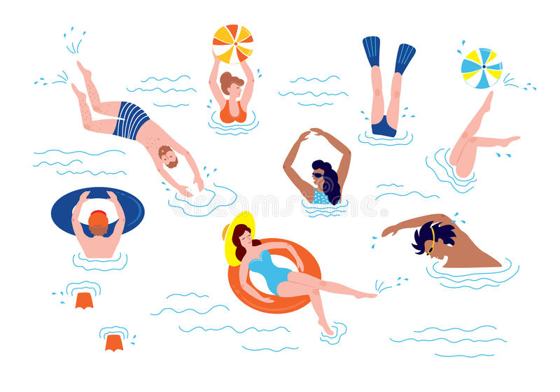 El nadar y restos de la gente en el mar stock de ilustración